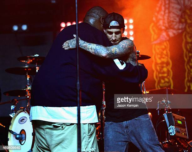 Rapper Killer Mike of Run the Jewels and drummer Travis Barker perform onstage during day 2 of the 2015 Coachella Valley Music Arts Festival at the...