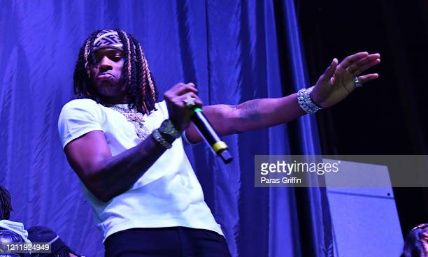 """Rapper King Von performs in concert during the """"PTSD"""" tour at The Tabernacle on March 11, 2020 in Atlanta, Georgia."""