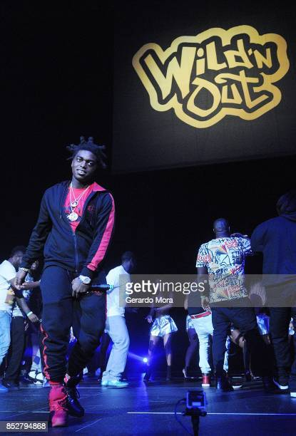 Rapper Kodak Black poses during the Nick Cannon's Wild N Out Tour at CFE Arena on September 23 2017 in Orlando Florida Nick Cannon and the members of...