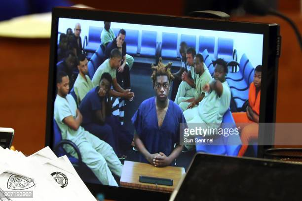 Rapper Kodak Black whose real name is Dieuson Octave appears via CCTV in magistrate court on Friday Jan 19 2018 Octave of Pembroke Pines was arrested...