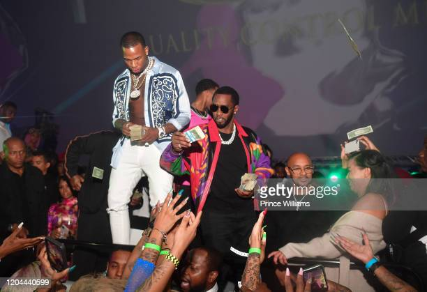 Rapper Kollision and Sean Combs attend the Million Dollar Bowl at The Dome Miami on February 3 2020 in Miami Florida