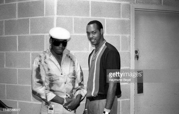 Rapper Kool Moe Dee and his deejay DJ Easy Lee poses for photos backstage at the UIC Pavilion in Chicago Illinois in September 1987