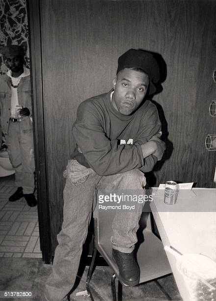 Rapper KSolo poses for photos after his performance at the Arie Crown Theater in Chicago Illinois in 1990