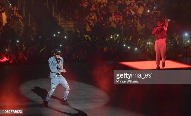 Rapper Lil Baby and Drake perform onstage during the Final Stop of 'Aubrey The three Amigos Tour' at State Farm Arena on November 18 2018 in Atlanta...