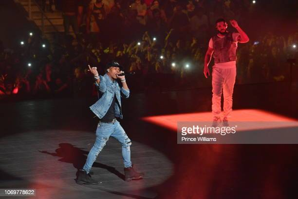 Rapper Lil Baby and Drake perform onstage during the Final Stop of 'Aubrey & The three Amigos Tour' at State Farm Arena on November 18, 2018 in...