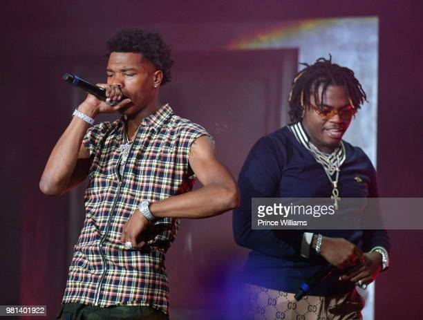 Rapper Lil Baby and Gunna perform at Birthday Bash 2018 at Cellairis Amphitheatre at Lakewood on June 16 2018 in Atlanta Georgia