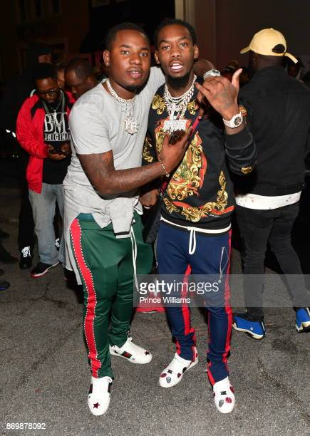 Rapper Lil Baby and Offset attend Yo Gotti 'I Still Am' Album Release Party at Amora Lounge on November 2 2017 in Atlanta Georgia