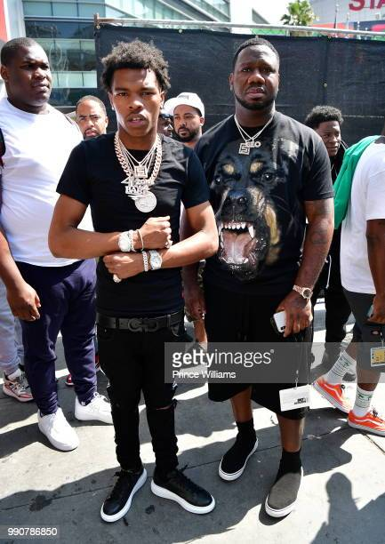 Rapper Lil Baby and Pierre Thomas attend the 2018 BET Experience Live at Microsoft Square on June 23 2018 in Los Angeles California