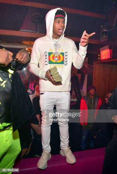 Rapper Lil Baby attends 'No Cap' Tuesday The Biggest Party Of The Year at Gold Room on January 16 2018 in Atlanta Georgia