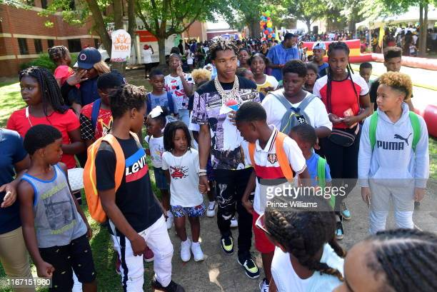 Rapper Lil Baby attends The Grand Finale Summer 19 Back to School Drive at Morris Brown College on August 9 2019 in Atlanta Georgia