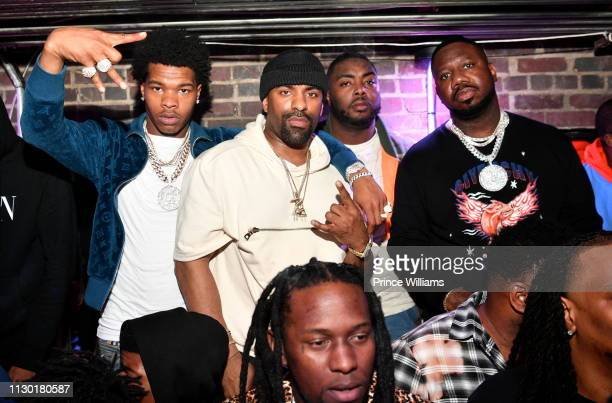 Rapper Lil Baby DJ Clue and Pierre 'Pee' Thomas attend 2019 All Star weekend Party Hosted by Lil Baby Fabolous at Oak on February 16 2019 in...
