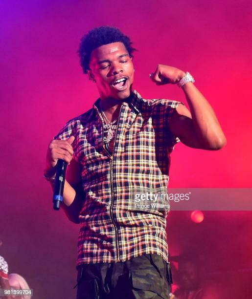 Rapper Lil Baby performs at Birthday Bash 2018 at Cellairis Amphitheatre at Lakewood on June 16 2018 in Atlanta Georgia