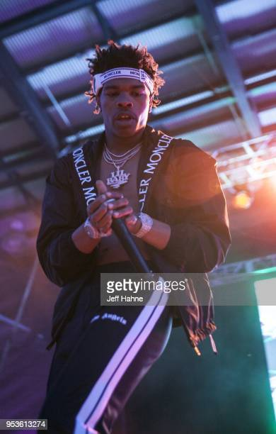 Rapper Lil Baby performs at the Charlotte Metro Credit Union Amphitheatre on May 1 2018 in Charlotte North Carolina