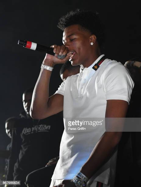 Rapper Lil Baby performs onstage during Morehouse Homecoming Hip Hop Concert at Morehouse College Forbes Arena on October 18 2017 in Atlanta Georgia