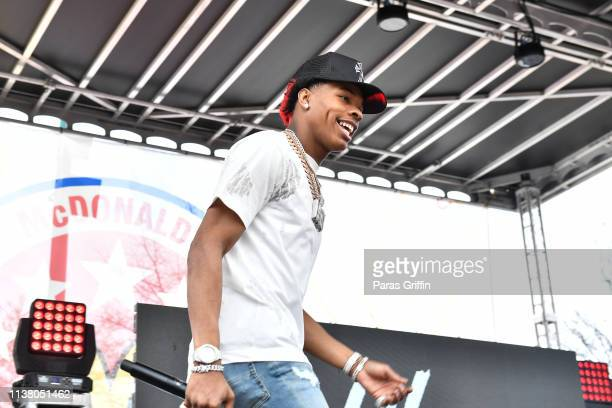Rapper Lil Baby performs onstage during the McDonald's All American Games Fan Fest at Centennial Olympic Park on March 24 2019 in Atlanta Georgia