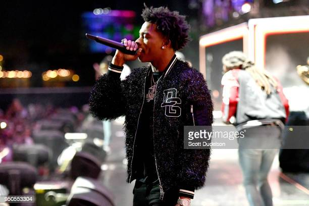 Rapper Lil Baby performs onstage during week 1 day 3 of the Coachella Valley Music And Arts Festival on April 15 2018 in Indio California