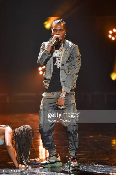 Rapper Lil Baby speaks onstage at the 2019 BET Hip Hop Awards at Cobb Energy Performing Arts Centre on October 05 2019 in Atlanta Georgia