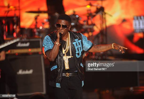 Rapper Lil Boosie performs onstage at the BET Hip Hop Awards 2014 at Boisfeuillet Jones Atlanta Civic Center on September 20 2014 in Atlanta Georgia