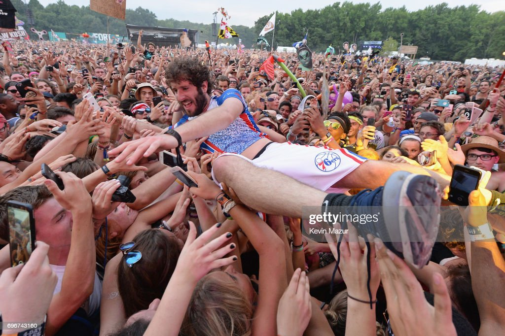Rapper Lil Dicky performs onstage during the 2017 Firefly Music Festival on June 16, 2017 in Dover, Delaware.