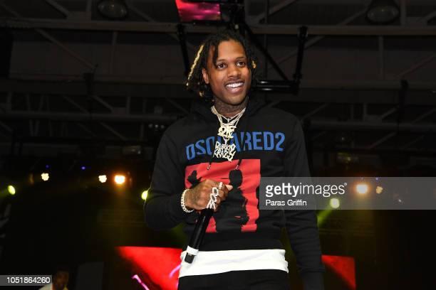 Rapper Lil Durk performs in concert during 2018 ClarkAtlanta University Homecoming Concert at Clark Atlanta University