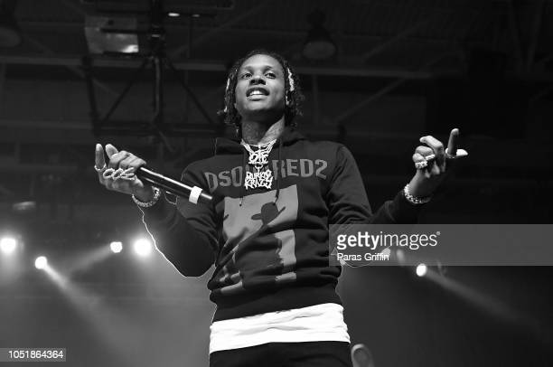 Rapper Lil Durk performs in concert during 2018 ClarkAtlanta University Homecoming Concert at Clark Atlanta University on October 10 2018 in Atlanta...