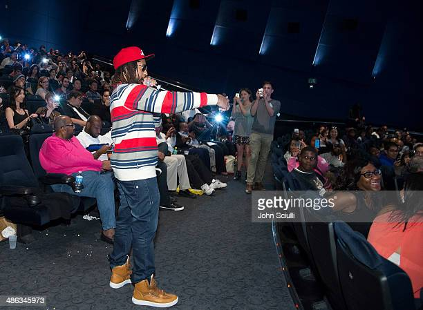 Rapper Lil Jon addresses the audience at the screening of Relativity Media's Brick Mansions at ArcLight Hollywood on April 23 2014 in Hollywood...