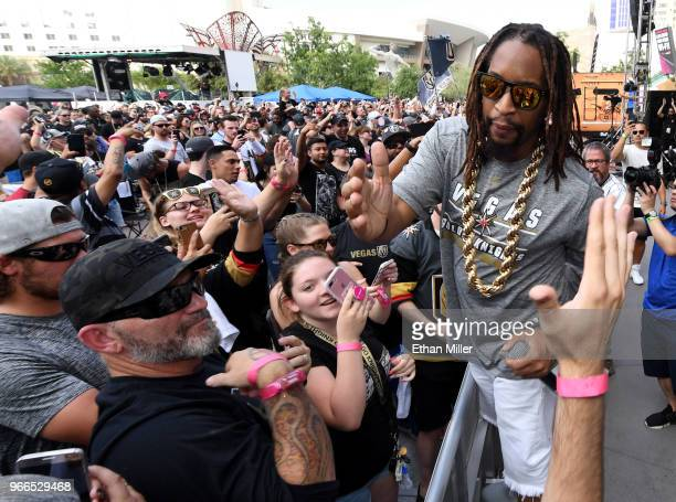 Rapper Lil Jon performs at a Vegas Golden Knights road game watch party for Game Three of the 2018 NHL Stanley Cup Final between the Washington...