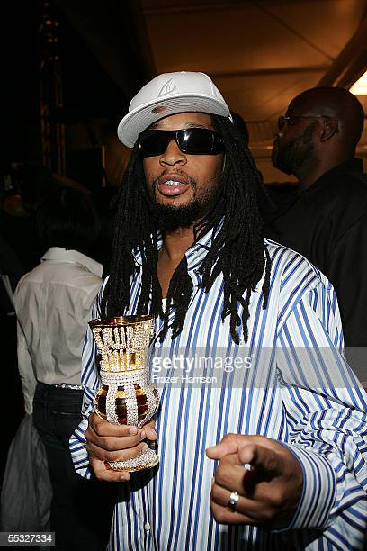 Rapper Lil' Jon poses backstage at the Tommy Hilfiger Spring 2006 fashion show during Olympus Fashion Week at Bryant Park September 9 2005 in New...