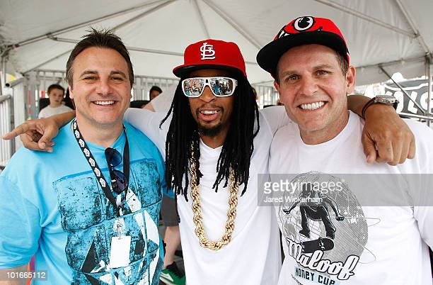 Rapper Lil Jon poses for a portrait with Gavin Maloof and Joe Maloof at the Maloof Money Cup on June 6, 2010 at Flushing Meadows Corona Park in the...