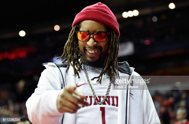 Rapper Lil Jon watches the UNLV Rebels take on the San Diego State Aztecs at the Thomas Mack Center on January 27 2018 in Las Vegas Nevada UNLV won...
