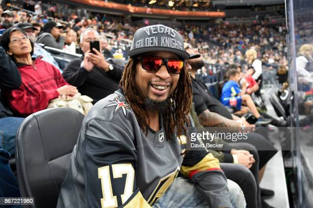 Rapper Lil Jon watches the Vegas Golden Knights take on the Colorado Avalanche during the game at TMobile Arena on October 27 2017 in Las Vegas Nevada