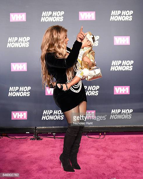 Rapper Lil Kim and daughter Royal Reign attend the VH1 Hip Hop Honors All Hail The Queens at David Geffen Hall on July 11 2016 in New York City