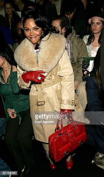 Rapper Lil Kim attends the Marc Jacobs Fall 2005 show during Olympus Fashion Week at The Armory February 7, 2005 in New York City.