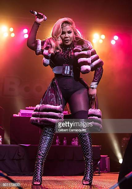 Rapper Lil' Kim performs during BOOM Bash 2015 Concert in celebration of the 1st year anniversary of Boom 1079 FM Radio Station at Liacouras Center...
