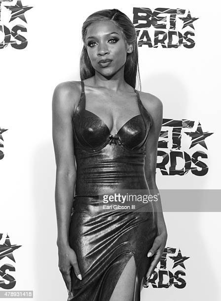 Rapper Lil' Mama poses in the press room during the 2015 BET Awards at the Microsoft Theater on June 28 2015 in Los Angeles California