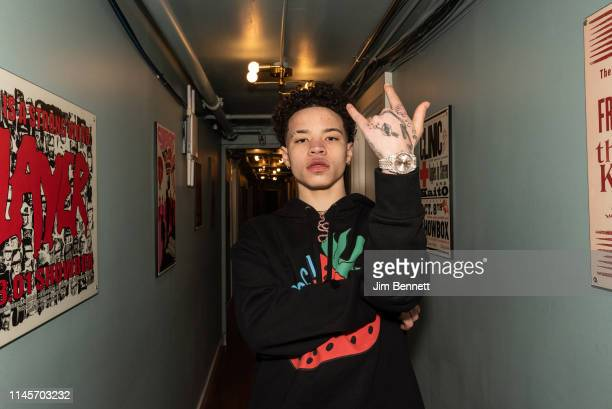Rapper Lil Mosey stands backstage during the Northsbest Festival at the Showbox SoDo on April 27 2019 in Seattle Washington