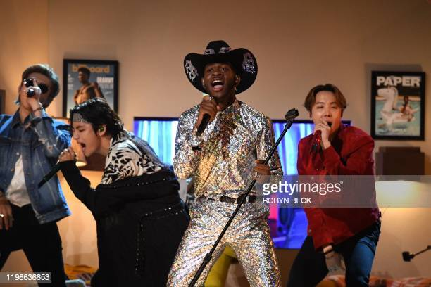 US rapper Lil Nas X and South Korean boy band BTS perform during the 62nd Annual Grammy Awards on January 26 in Los Angeles