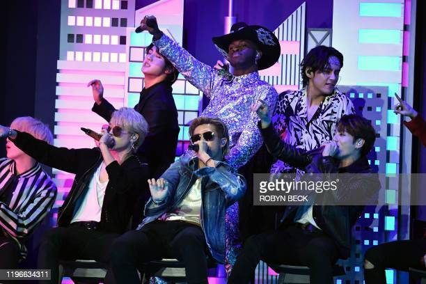 US rapper Lil Nas X and South Korean boy band BTS perform onstage during the 62nd Annual Grammy Awards on January 26 in Los Angeles