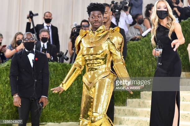Rapper Lil Nas X arrives for the 2021 Met Gala at the Metropolitan Museum of Art on September 13, 2021 in New York.