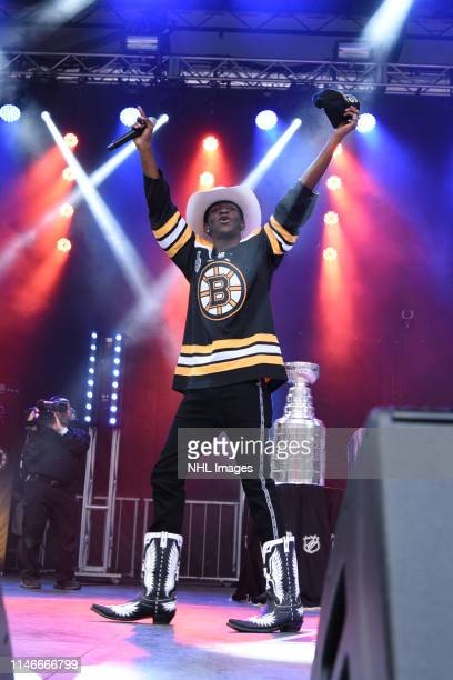 Rapper Lil Nas X performs at City Hall Plaza before the game of the Boston Bruins against the St Louis Blues in Game One of the Stanley Cup Final...
