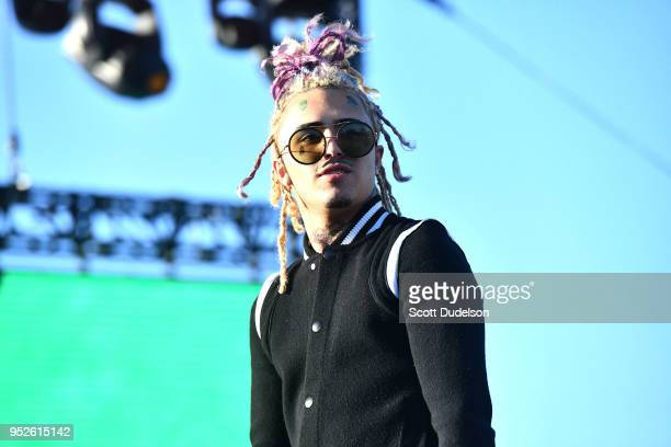 Rapper Lil Pump performs onstage during the Smokers Club Festival at The Queen Mary on April 28 2018 in Long Beach California