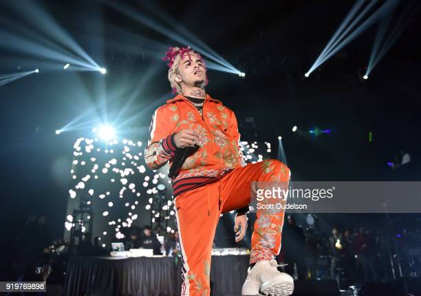 Rapper Lil Pump performs onstage during YG and Friend's Nighttime Boogie Concert at The Shrine Auditorium on February 17 2018 in Los Angeles...