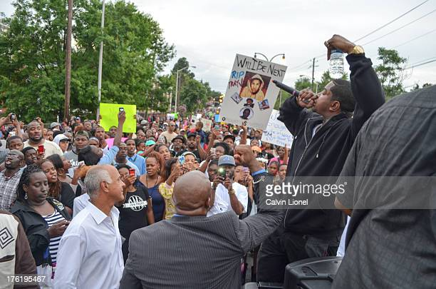 Rapper Lil Scrappy and former Mayor Bill Campbell address demonstrators as they march to the CNN Center in downtown Atlanta, Georgia in protest of...