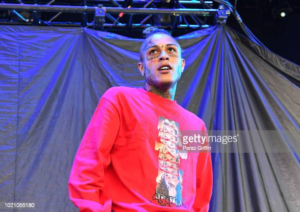Rapper Lil Skies performs in concert during the Dazed Blazed Tour at Cellairis Amphitheatre at Lakewood on August 21 2018 in Atlanta Georgia