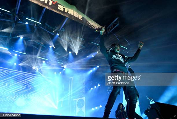 Rapper Lil Tjay performs onstage during day 1 of the Rolling Loud Festival at Banc of California Stadium on December 14 2019 in Los Angeles California