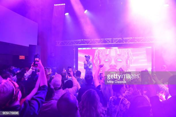 Rapper Lil Uzi Vert performs onstage during The Points Guy Presents TPG Soundtracks PreGrammy Party With Lil Uzi Vert on January 23 2018 in New York...