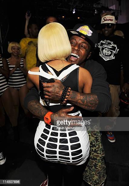 Rapper Lil Wayne and singer Nicki Minaj backstage during the 2011 Billboard Music Awards at the MGM Grand Garden Arena May 22 2011 in Las Vegas Nevada
