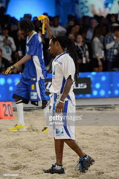 Rapper Lil Wayne attends DIRECTV'S 7th Annual Celebrity Beach Bowl at DTV SuperFan Stadium at Mardi Gras World on February 2 2013 in New Orleans...