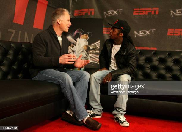 Rapper Lil Wayne interviews ESPN personality Kenny Mayne at ESPN the Magazine's NEXT Big Weekend 2009 Super Bowl Party on January 30 2009 in Tampa...
