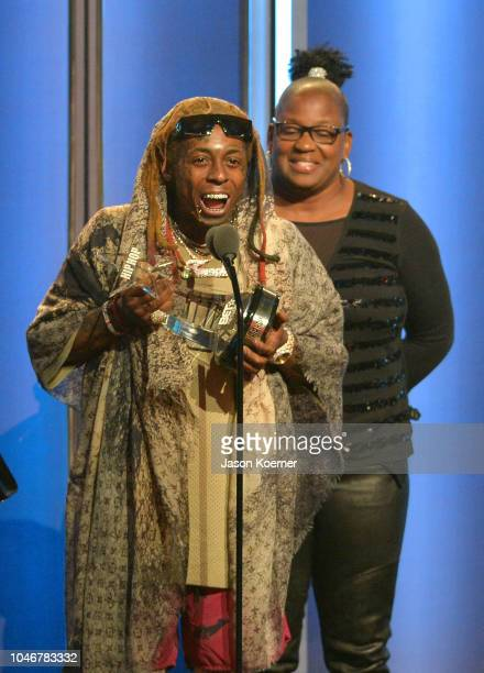 Rapper Lil Wayne is seen onstage during the BET Hip Hop Awards 2018 at Fillmore Miami Beach on October 6 2018 in Miami Beach Florida